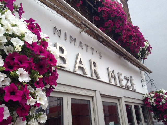 Flower decorations outside Bar Meze St Albans